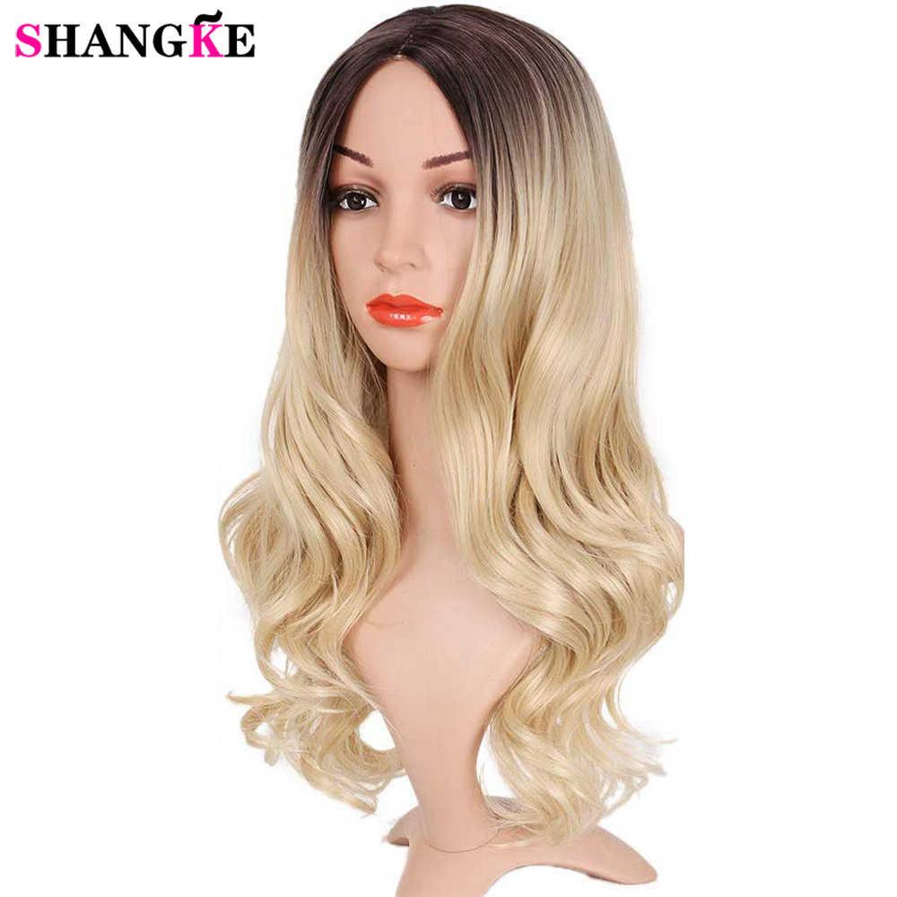Uzun Ombre Kahverengi Kül Sarışın Yüksek Yoğunluklu Sıcaklık Sentetik Peruk Siyah/Beyaz Kadınlar Tutkalsız Dalgalı kostümlü oyun saç peruk SHANGKE