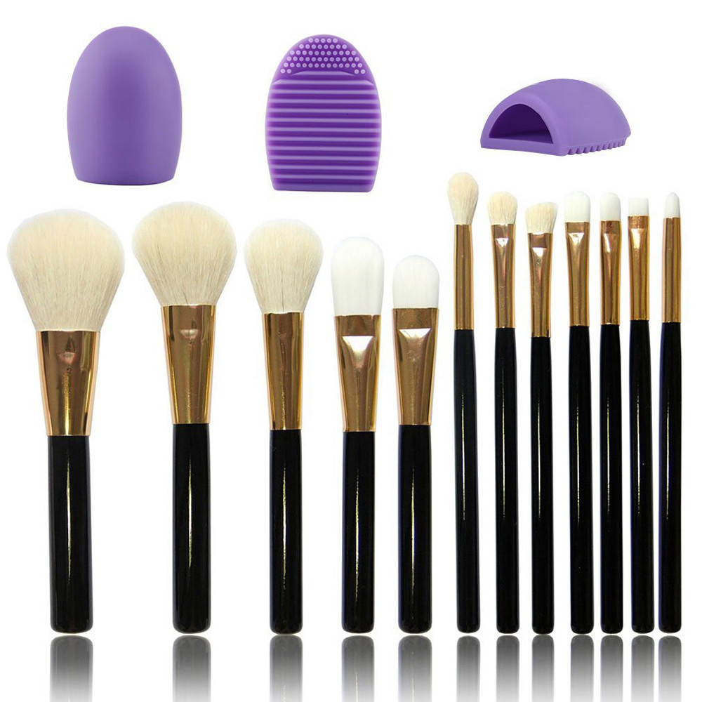 Professional Makeup Brush High Quality 12pcs Foundation Face Powder Brush Eye Plastic Handle Cosmetic Makeup Brush Set Cleaner finding color professional wooden cosmetic makeup bevel foundation brush brown
