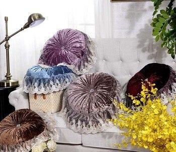 1 pièce qualité velours tissu dentelle couleur unie Luury coussin canapé coussins décoratifs oreillers ronds coussins diamètre
