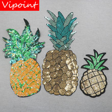 VIPOINT embroidery sequins big pineapple patches fruits badges applique for clothing XW-156