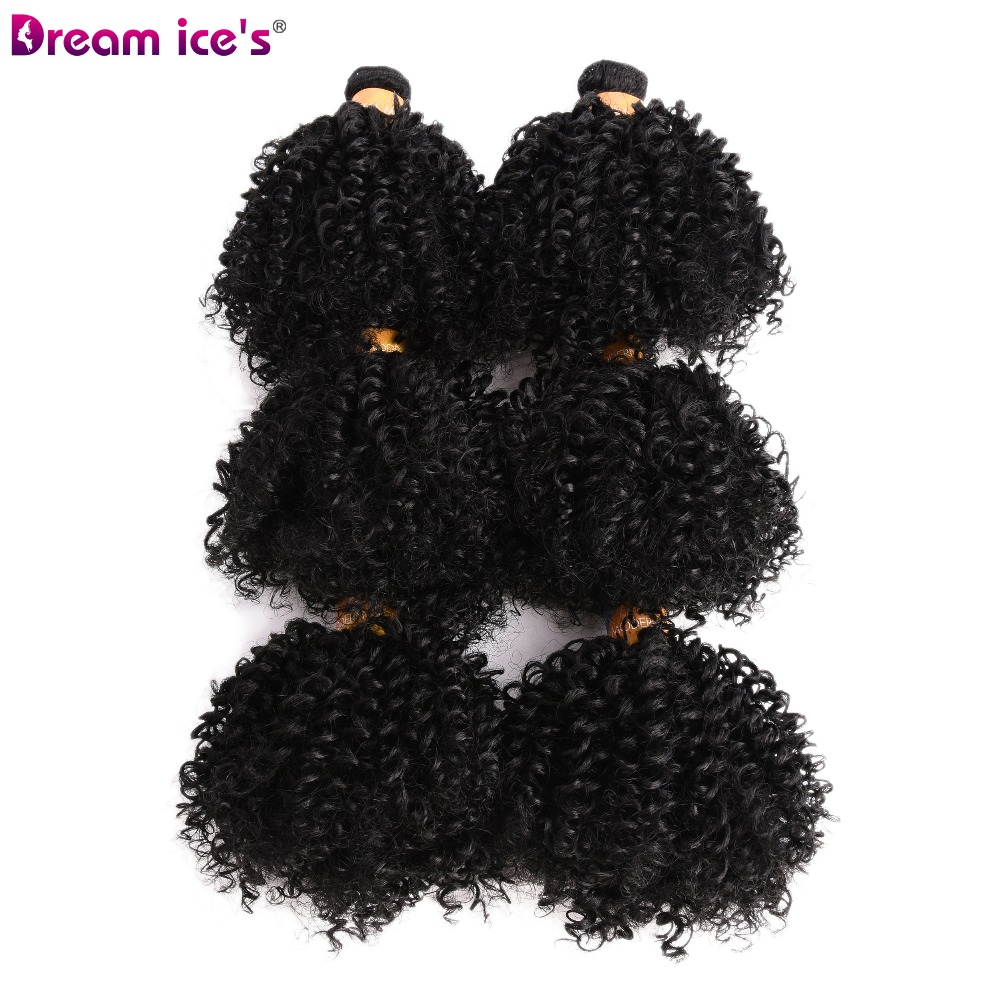 Kinky Curly Hair Synthetic-Weave 6-Bundles Ombre 6inch for One-Head 6pcs Soft Natural-Color