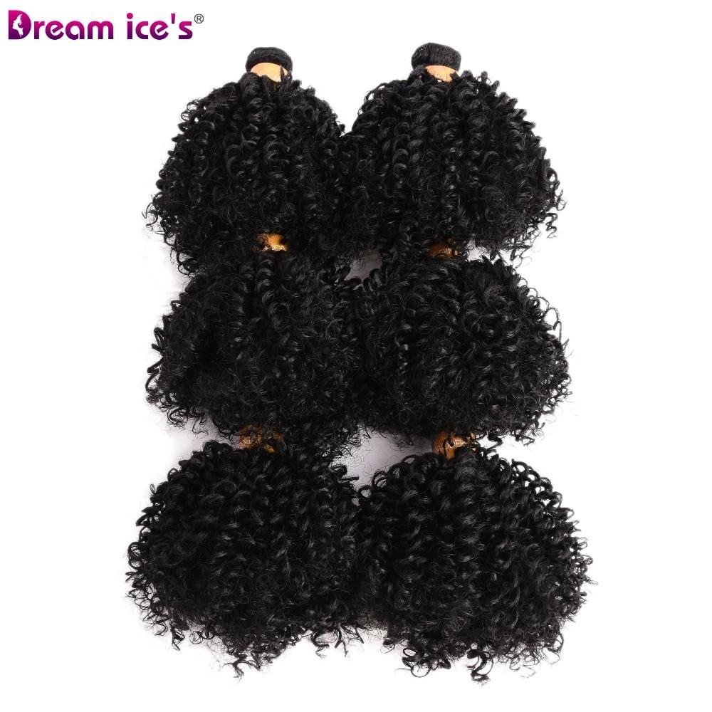 6 pacotes kinky encaracolado cabelo sintético tecer ombre 6 pcs trama do cabelo macio cor natural 6 polegada para uma cabeça