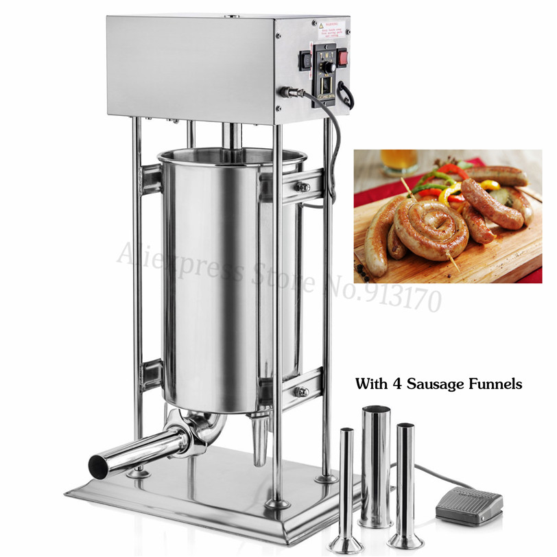 30Liters Automatic Stainless Steel Sausage Stuffer Salami Filling Machine 220V/110V Sausage Filler 120W