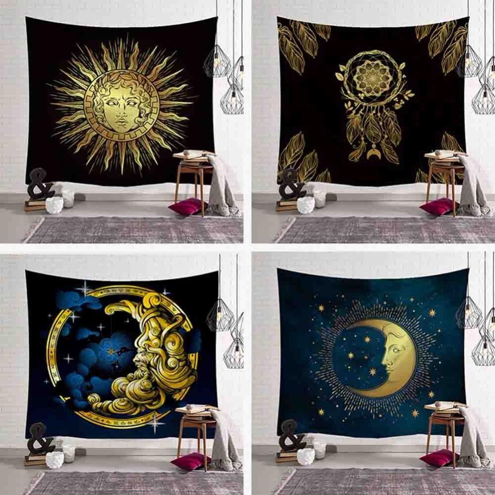 Gold Sun Moon Pattern Tapestry Indian Style Blanket Mandala Bohemian Decorative Hippie Tapestries Blanket Rug Vintage Home Decor