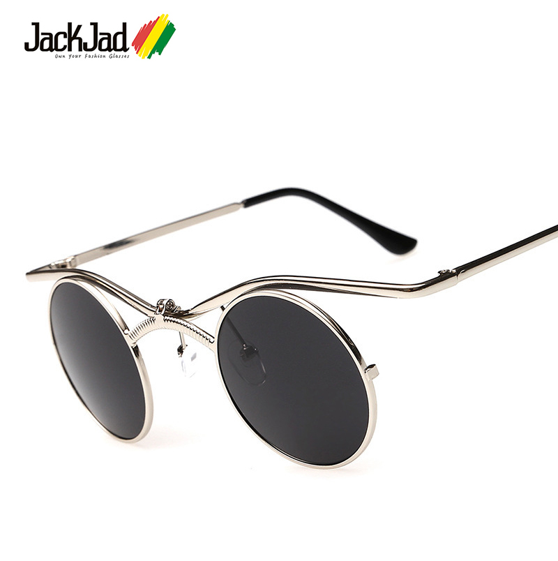 Sunglasses Round Frame SteamPunk Style Side Mesh Men Brand Cool  Design Vintage