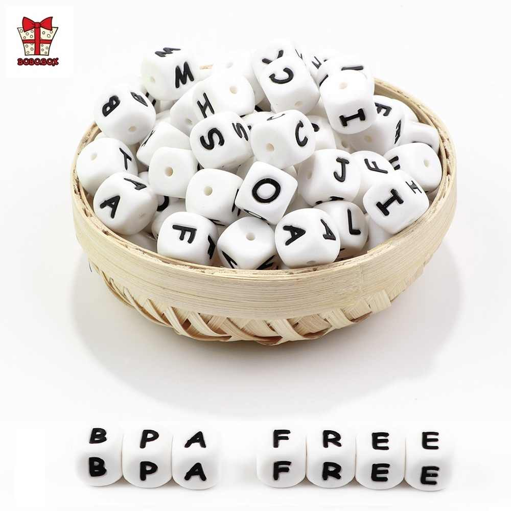 BOBO.BOX Baby Teether 100Pcs/lot English Alphabet Beads BPA Free For DIY Baby Teething Pacifier Chain Silicone Beads Letter