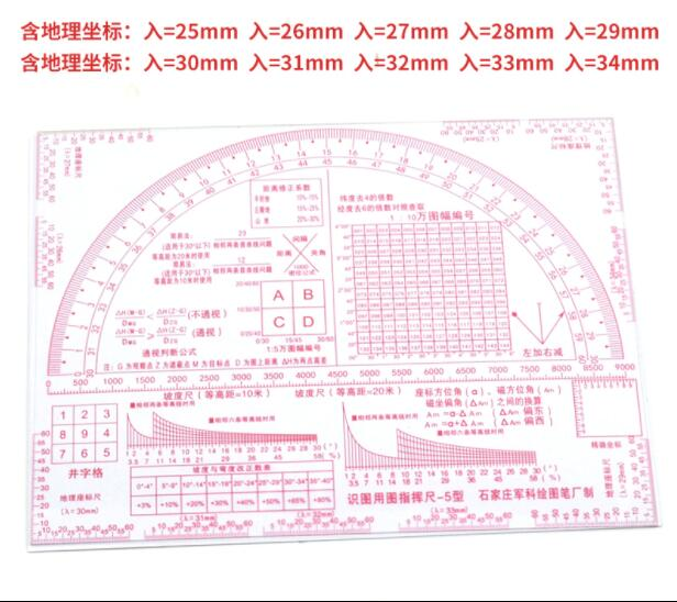 Multi-function Map Ruler Topography Work Ruler Military Command Rule Map Geographic Coordinate Measure