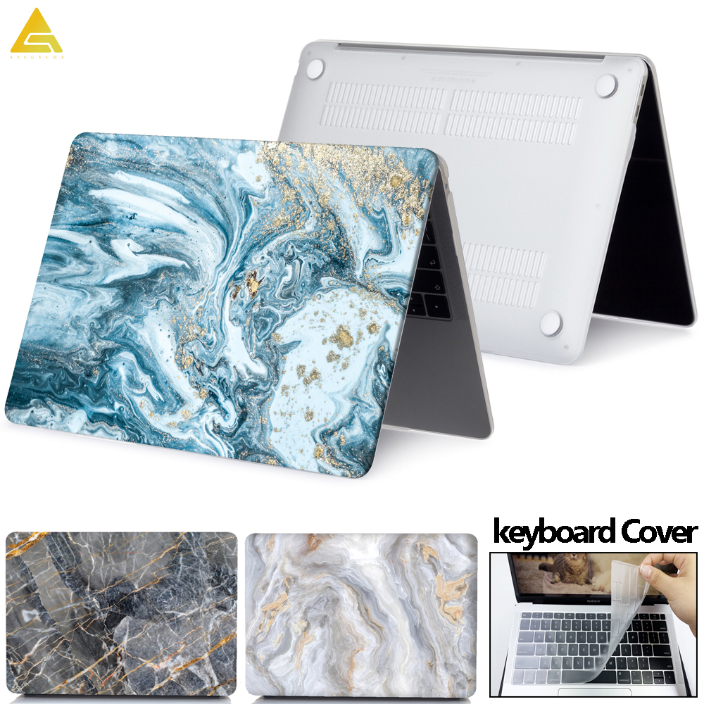 Marble Laptop Case For Apple MacBook Touch ID A1932, Air 13 A1369 Pro Retina 11 12 13 15 Pro 13.3 15.4 Touch Bar+ Keyboard Cover