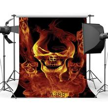 Photography Backgrounds Halloween Horror Night Fire Specter Skulls