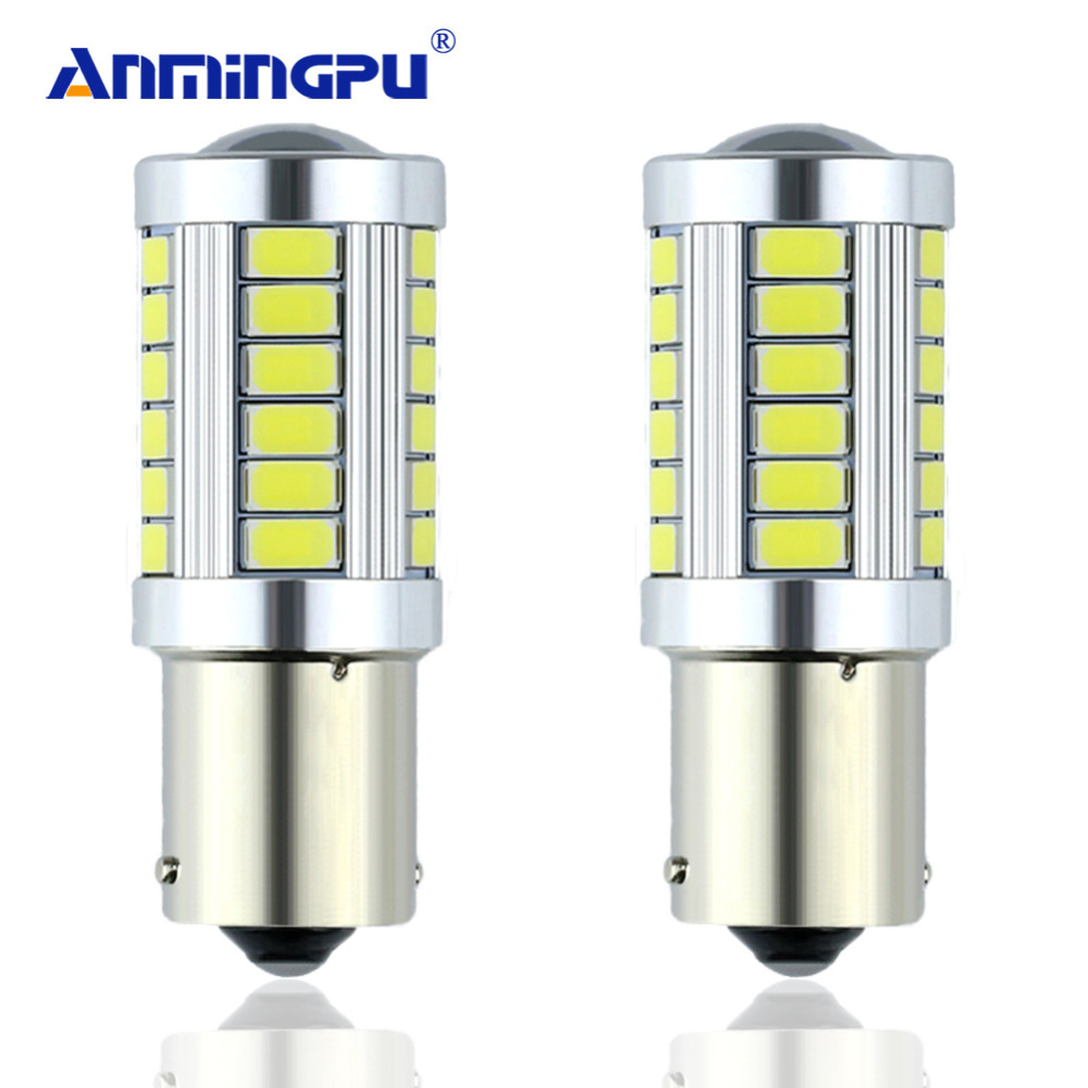 ANMINGPU 2PCS Car Light Signal Lamp 1156 BA15s P21W Led Led Turn Brake Light Tail Lamp 33SMD 5730 LED Auto Rear Reverse Bulb r5w