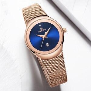 Image 2 - NAVIFORCE relojes superfino para mujer, de malla plateada, de acero inoxidable, de pulsera, informal