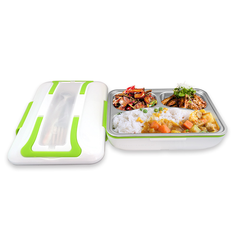12V 110V 220V Electric Heating Lunch Box Portable Stainless Steel Meal Heating Machine Pot EU/AU/UK/US Plug For Officer Students