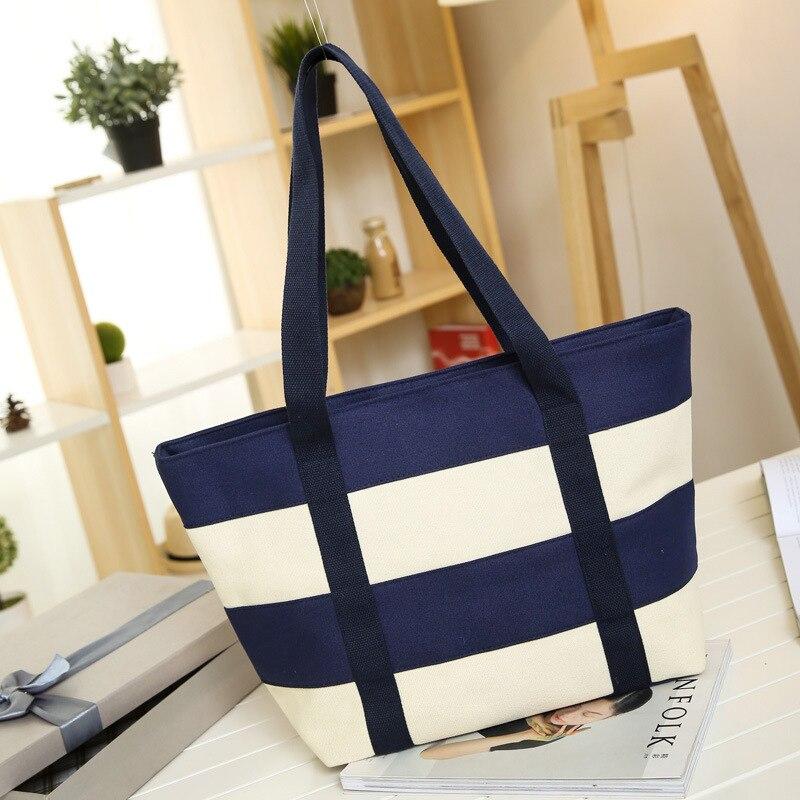 Bokinslon Women Big Bags Canvas Wide Stripe Woman Shoulder Bags Stitching Color Simple Ladies Handbags Bags