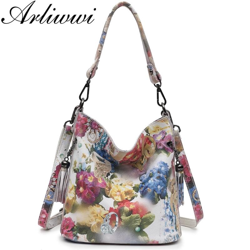Arliwwi Designer Bag Blossom Women Handbags Floral Shiny High-Class Real Leather Brand