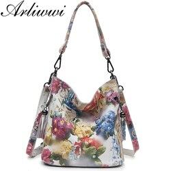 Arliwwi العلامة التجارية الدرجة العالية لامعة الأزهار جلد طبيعي حقائب النساء حقائب موضة 2019 جديد حقيقي جلد البقر زهر حقيبة أنيقة