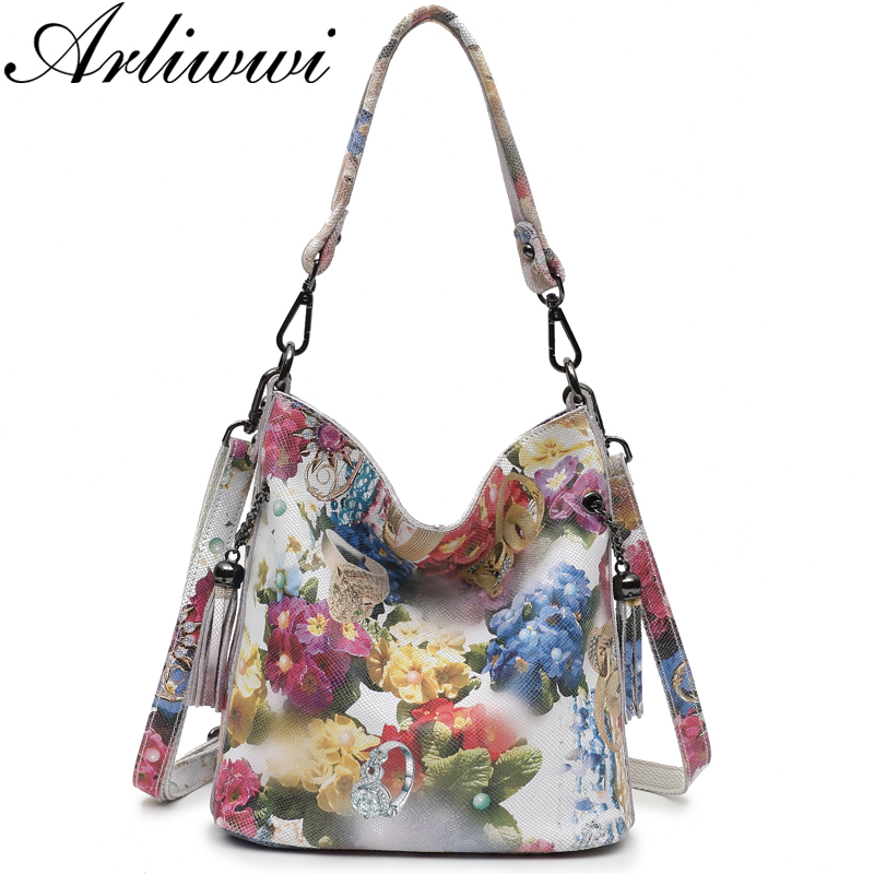 Arliwwi Brand High Class Shiny Floral REAL LEATHER Women Handbags Bags Fashion 2019 New Genuine Cow Leather Blossom Designer Bag