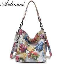 Marca Arliwwi Bolsos de cuero auténtico con flores brillantes para mujer, bolsos de mano femeninos, a la moda, de diseño de flores de cuero de vaca auténtico, GY01