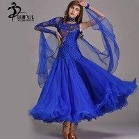 Royal Blue Ballroom Competition Dress Modern Waltz Tango Latin Dance Dress Flamenco Dance Dress