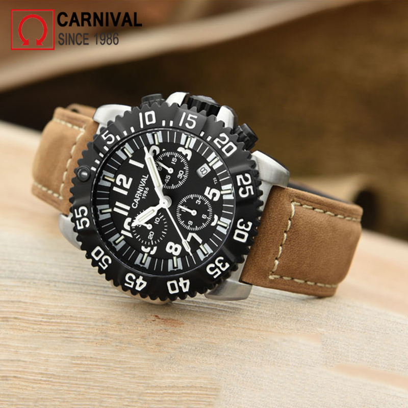 Карнавал T25 Тритий часы Для мужчин спорт Diver хронограф Для мужчин s часы лучший бренд класса люкс часы кварцевые наручные relogio masculino