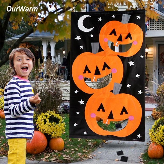 Ourwarm Halloween Party Games Hanging Pumpkin Bean Bag Toss Game 3