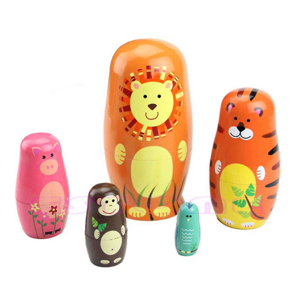 2017New 1 Set /5 Pcs Cute Wooden Babushka Russian Doll Animal Nesting Dolls Matryoshka Paint Gift