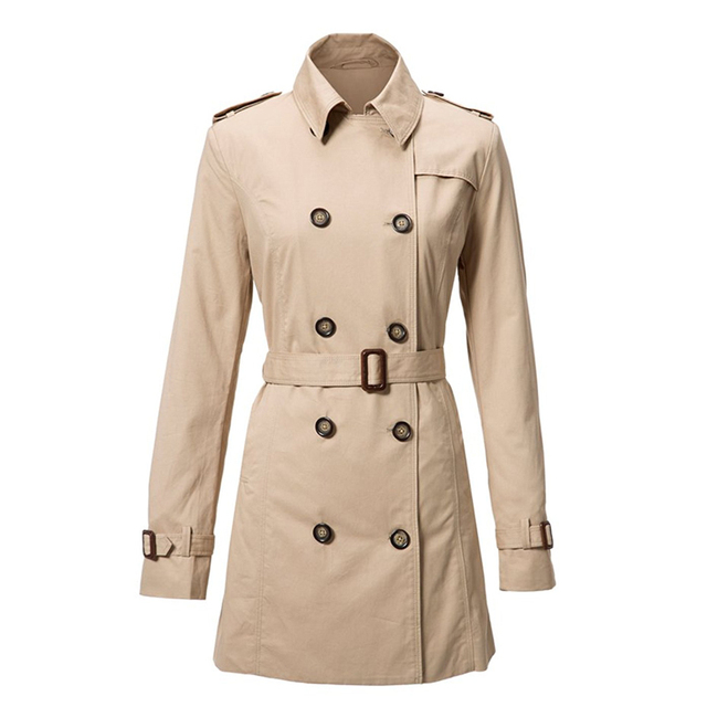 Olrain  Women's Double Breasted Long Sleeve Mid Length Trench Coat with Belt