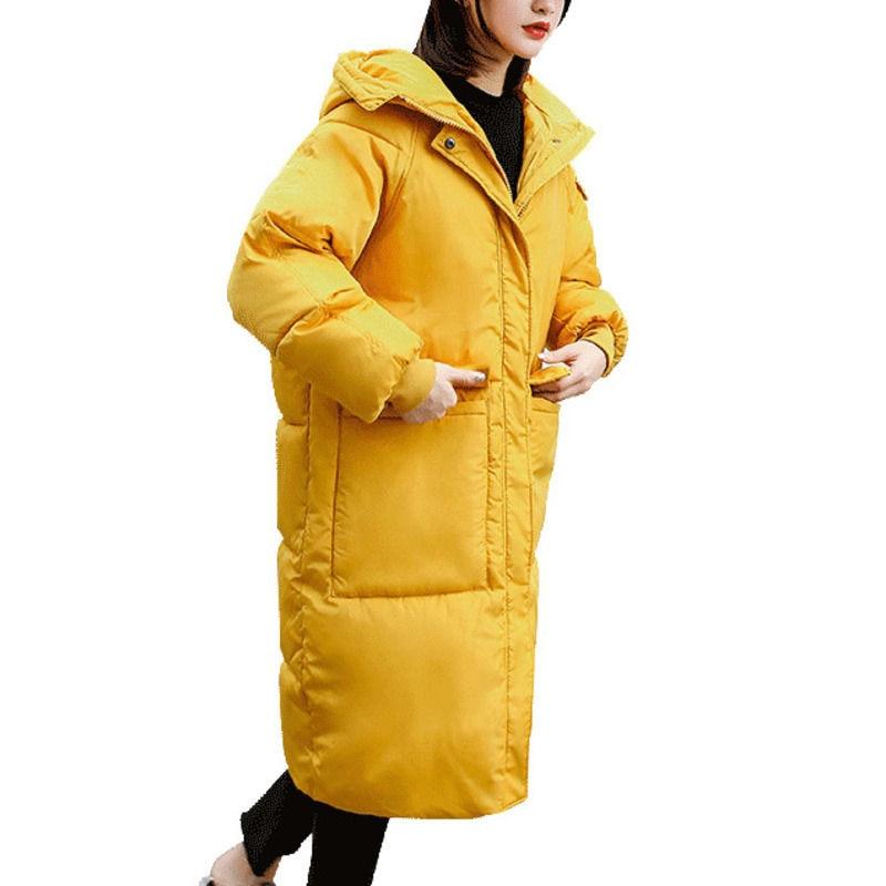 Black Yellow Loose Winter Jacket Women Plus Size Hoodies Thick Down Cotton Winter Coat Abrigo Mujer Warm Jacket Long   Parka   C5061