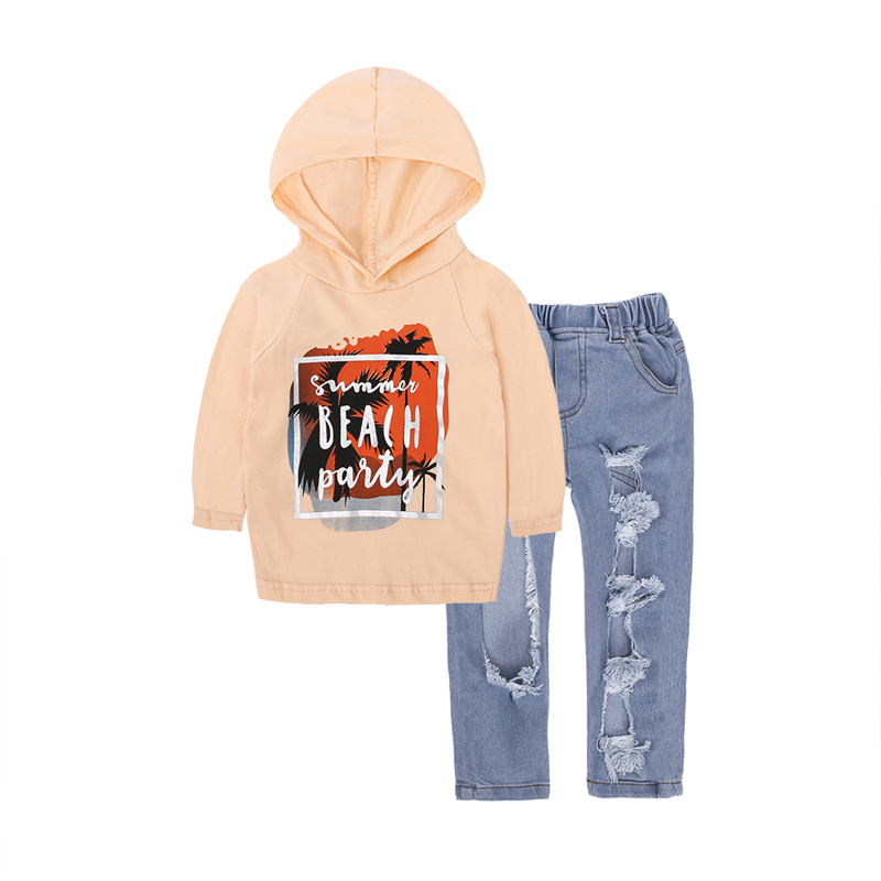 Kids 2pcs Sport Suits Girls Clothing Set Long Sleeeve Hooded Tops+Jeans Pants Children Girl Clothes Spring Autumn Kids Costume 2017 new fashion children girl clothes off shoulder long sleeve t shirt tops hole denim pant jeans 2pcs outfit kids clothing set