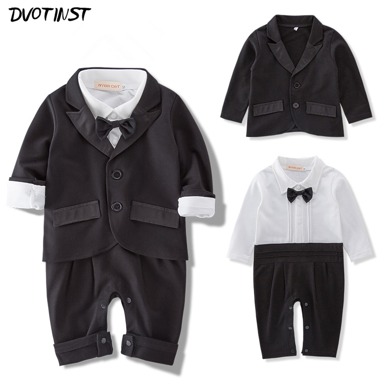 Baby Boys Gentleman Bow Tie Black Rompers+Coat Set Outfits Event Infantil Formal Tuxedo Suit Outfit Set Wedding Birthday Costume gentleman baby boy clothes black coat striped rompers clothing set button necktie suit newborn wedding suits cl0008