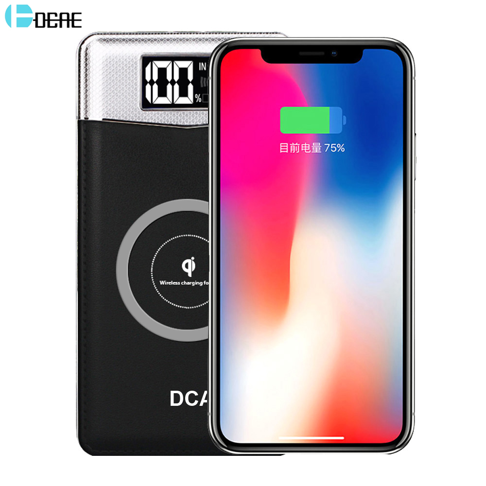 DCAE Qi Wireless Charger 10000Amh Portable Dual USB Power Bank Wireless Charging Pad for iPhone X 8 Plus Samsung Note 8 S9 S8 S7