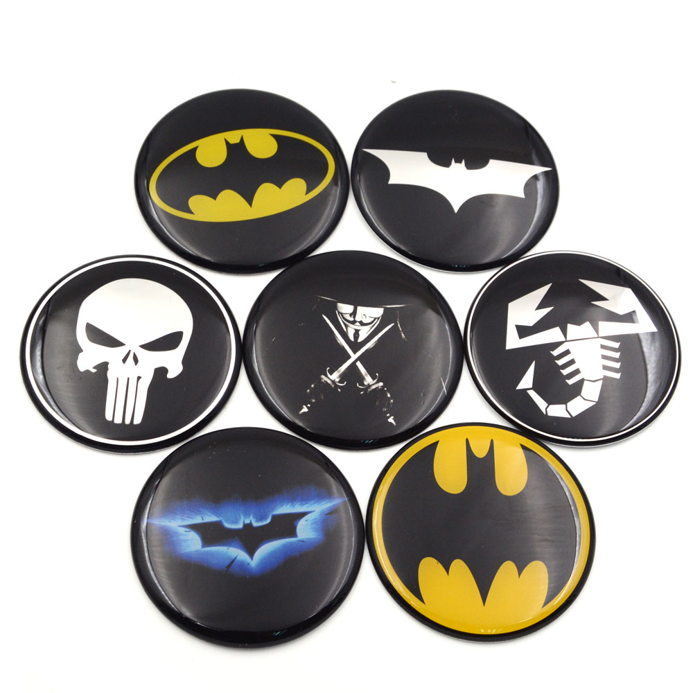 Gzhengtong 1pc 50mm 56mm 60mm 65mm 75mm Batman Vman Puniser Hellboy Scorption Skull Car Wheel Center Caps Sticker Emblem-in Car Stickers from Automobiles & Motorcycles