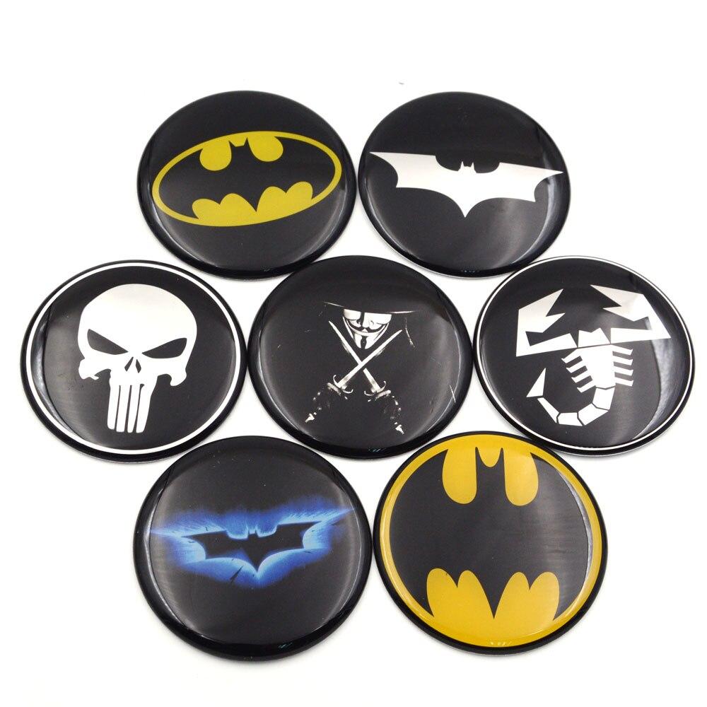 Gzhengtong 1pc 50mm 56mm 60mm 65mm 75mm Batman Vman Puniser Hellboy Scorption Skull Car Wheel Center Caps Sticker Emblem