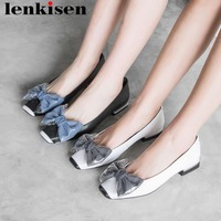 Lenkisen sweet girls hand sewn leather ballet shoes low heels movie stars square toe butterfly knot mixed colors fairy pumps L12