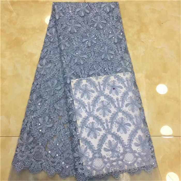 Тюль с блестками 5 ярдов/лот 2019 блестки Последние голубые пайетки Ткань для шитья платье Высокое качество африканская кружевная ткань зеленый