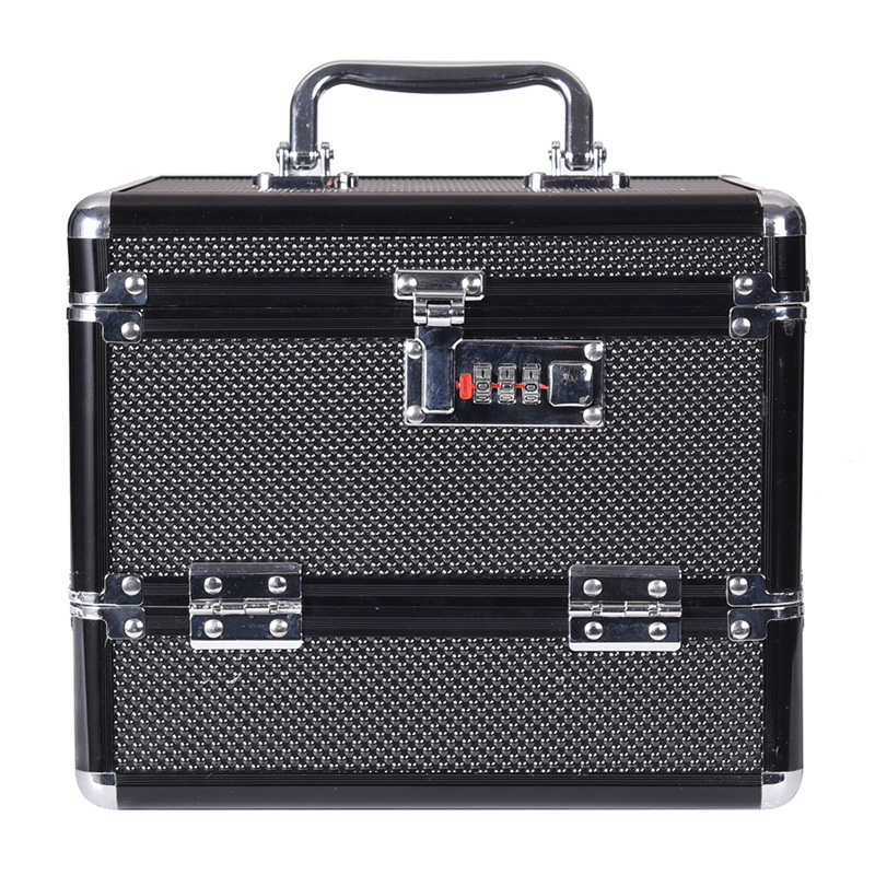 Купить с кэшбэком wenjie brother Professional Aluminium alloy Make up Box Makeup Case Beauty Case Cosmetic Bag Multi Tiers Lockable Jewelry Box