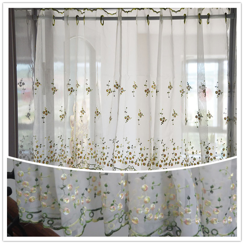 Beautiful Embroidery Pink Yellow Small Flowers Half Curtain. Coffee Curtain  / Shielding Curtain .(