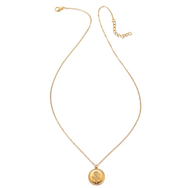 Fashion Rose Flower Charm Pendant Necklaces For Women Gift Vintage Coin Gold Color Chains Necklace Statement Jewelry Wholesale Accessories Jewellery & Watches Women's Fashion