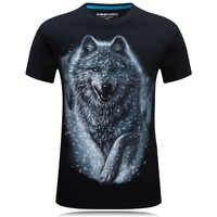 Camiseta de una pieza hombres lobo 3D impreso algodón divertido camisetas Unisex camiseta homme marca ropa verano top camisetas hombre