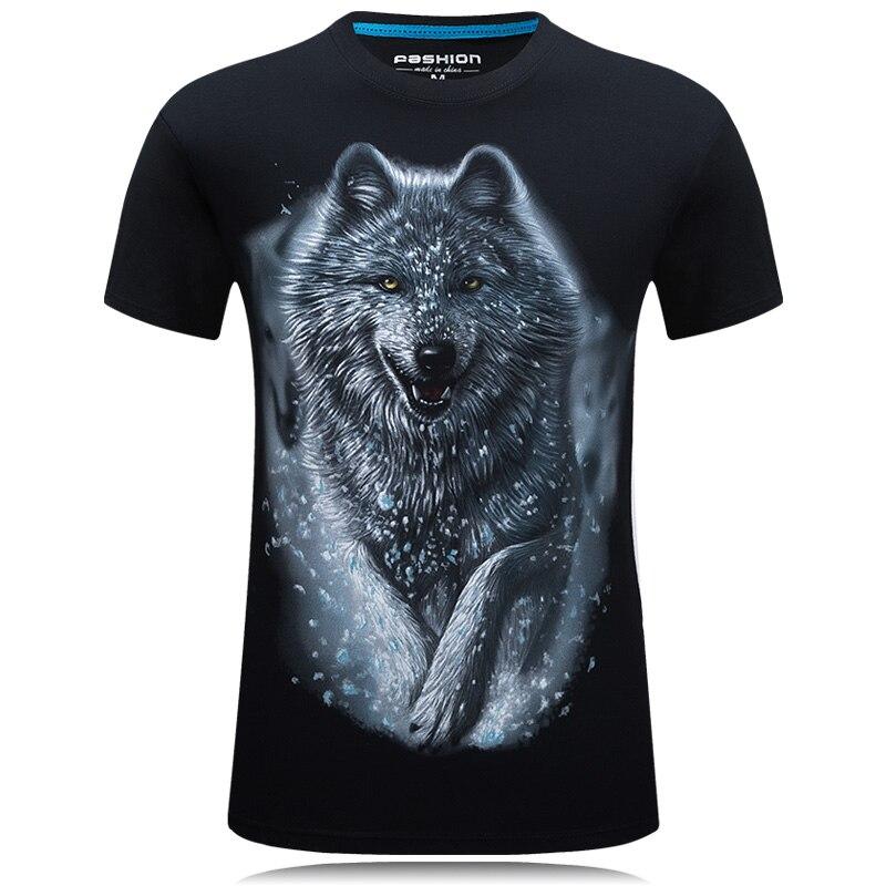 Uma peça T-Shirt Dos Homens Lobo 3D Impresso Algodão camisas Engraçadas de T t Unisex camisa homme Marca top Roupas de verão camisetas hombre