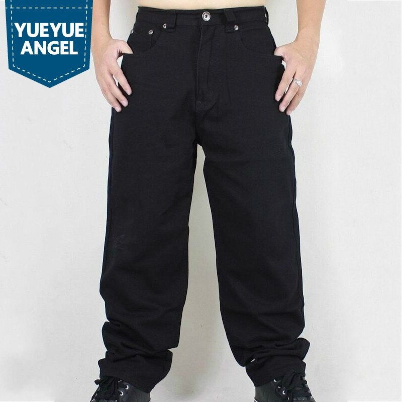 Fashion Plus Size Hip Hop Baggy Jeans Men New Loose Fit Wide Leg Denim Pants Solid Black Pocket Dance Trousers Streetwear