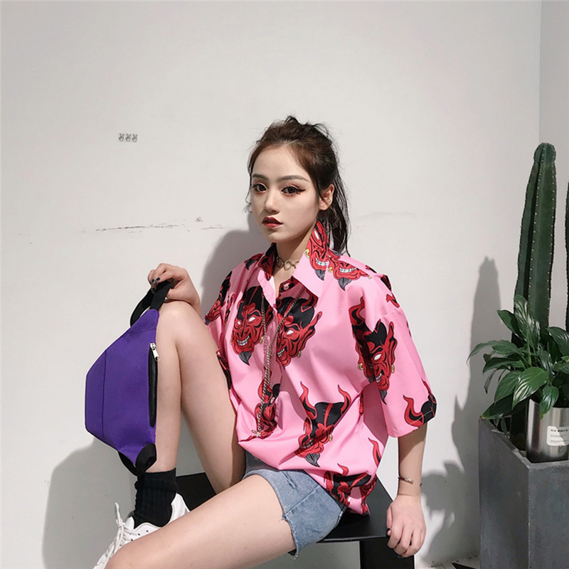 Lychee Girls Demon Blouse Female Short Sleeve Turn Down Collar Shirts Summer Casual Single Breasted Women Blouse Shirts