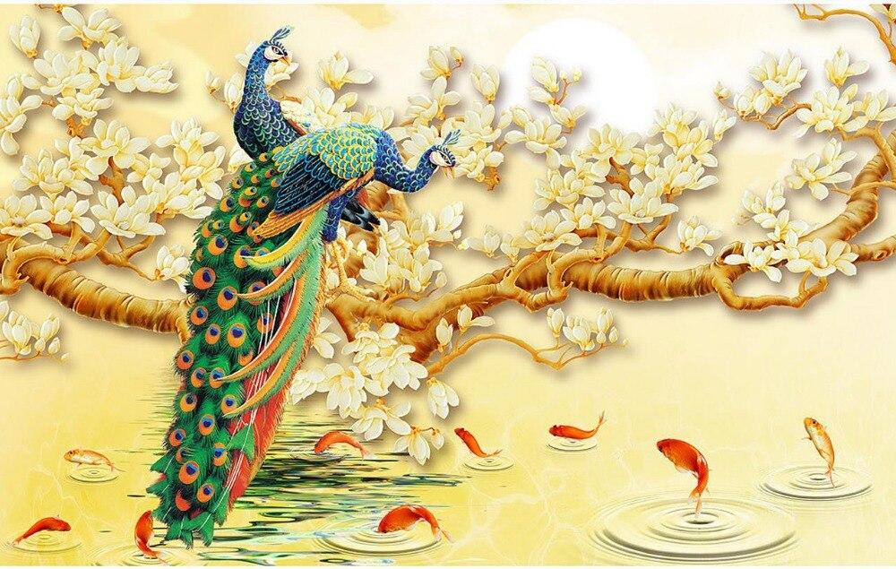 3d wallpaper flower peacock magnolia living room tv for 3d mural wallpaper