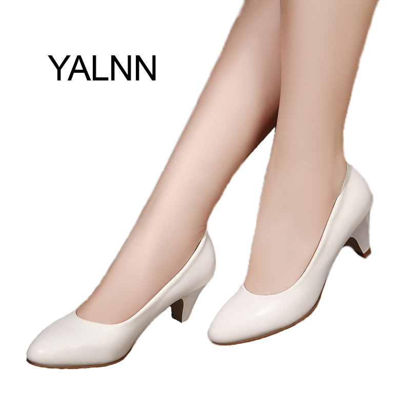YALNN Elegant New Women shoes leather 5cm med heel High Quality Shoes Classic White Pumps Shoes Office Girls Shoes the new puma womens shoes classic high classic star high tongue series white leather laser badminton shoes