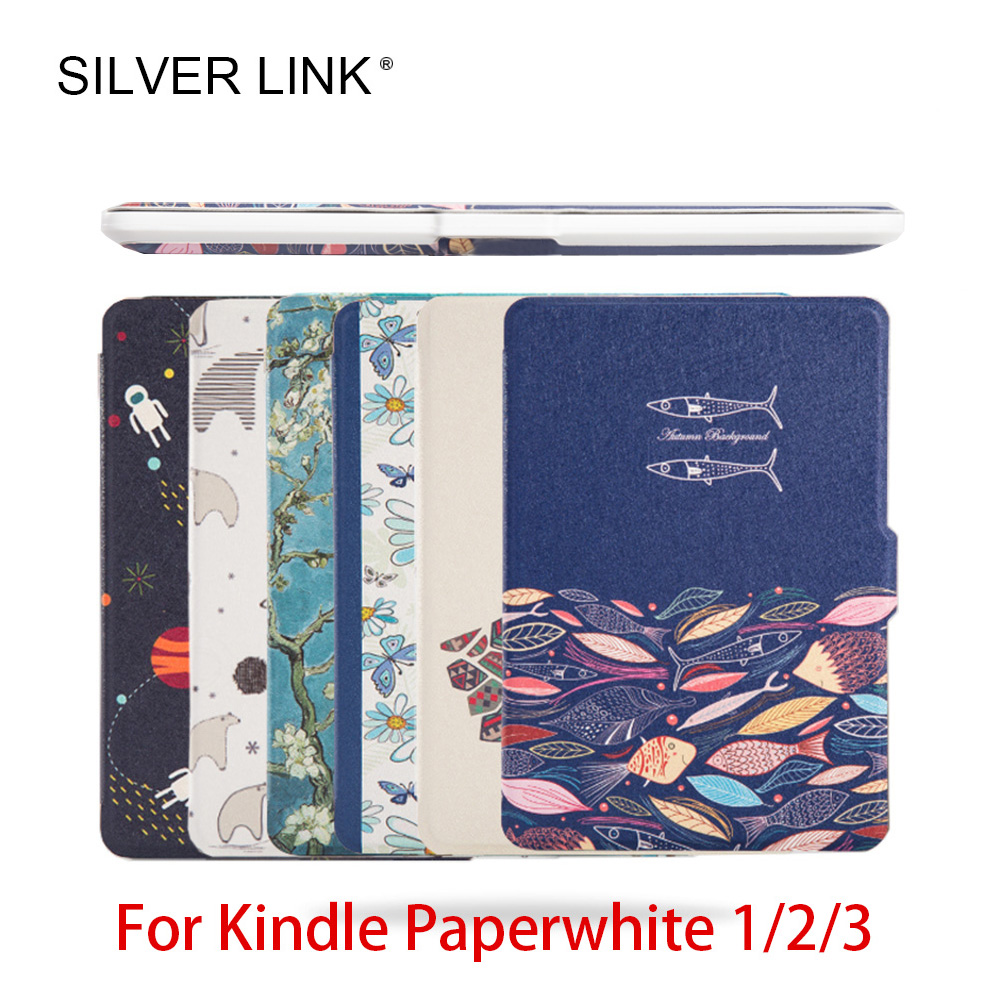 цены на SILVER LINK Kindle Slim Case For Kindle Paperwhite 1/2/3 Print PU Skin Ereader Cover 6inch Ebook Auto Sleep/WakeUp White Shell