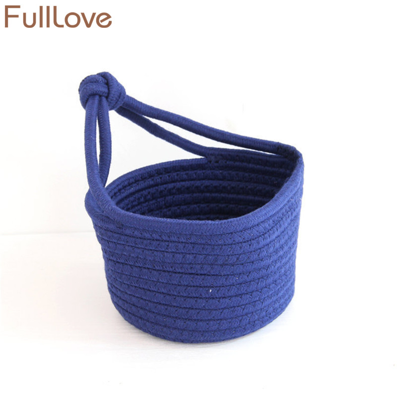 FullLove Cotton Knitted Storage Basket Solid Navy Hanging Organizer Box for Clothes Toys Sundries Home Storage & Organization