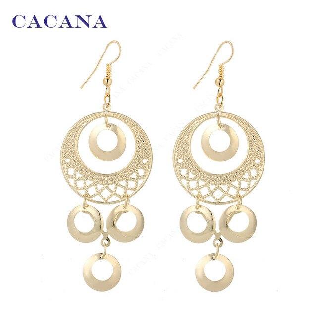 CACANA Dangle Long Earrings For Women Roung Shape Top Quality Bijouterie Hot Sal