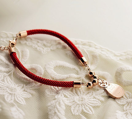 Corde rouge tissage Fortune chat chanceux Bracelet bijoux fins en - Bijoux fantaisie - Photo 3