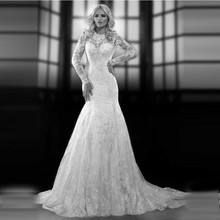 Popular Princess Bridal Gown with Lace Keyhole Back Full Sleeves Organza Mermaid Wedding Dresses 2016 Appliques