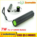 led lanterna 7W LED Flashlight Focus Zoomable flash Light Lamp used 1x18650 For camp Hunt Fishing