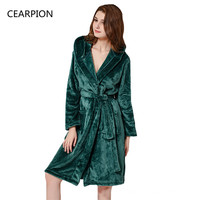 CEARPION New Flannel Autumn Winter Robe Women Warm Kimono Bathrobe Gown GREEN Sexy Fashion Lady Nightgown Home Colthes M L